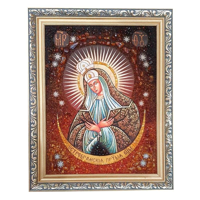 Ікона з бурштину Свята Богоматір Остробрамська