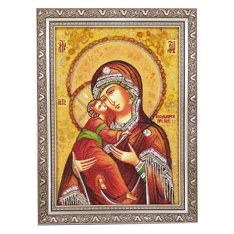 Икона янтарь Божьей Матери Владимирской
