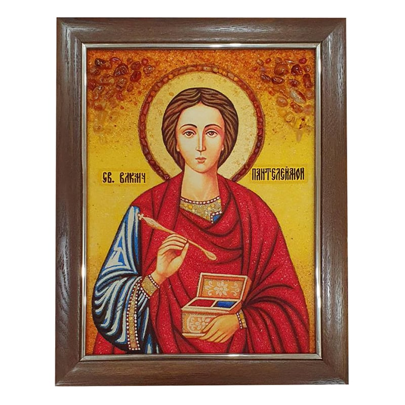 Икона янтарь Святитель Пантелеймон