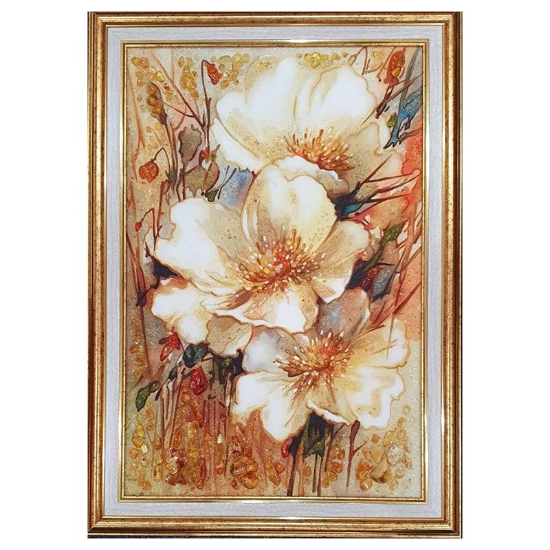 Картина з бурштину білі Маки