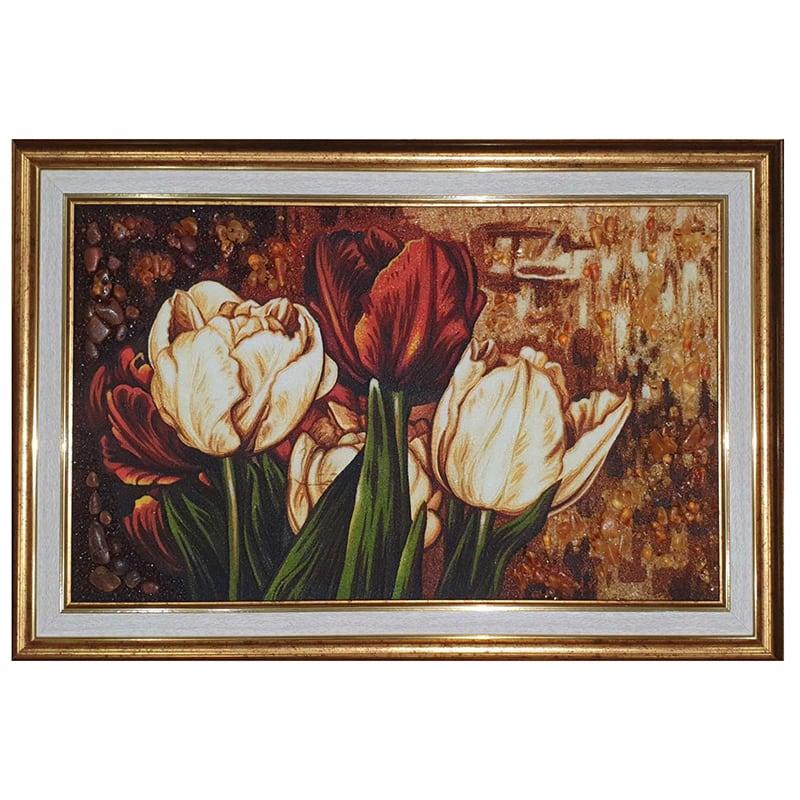 Картина з бурштину Букет тюльпанів