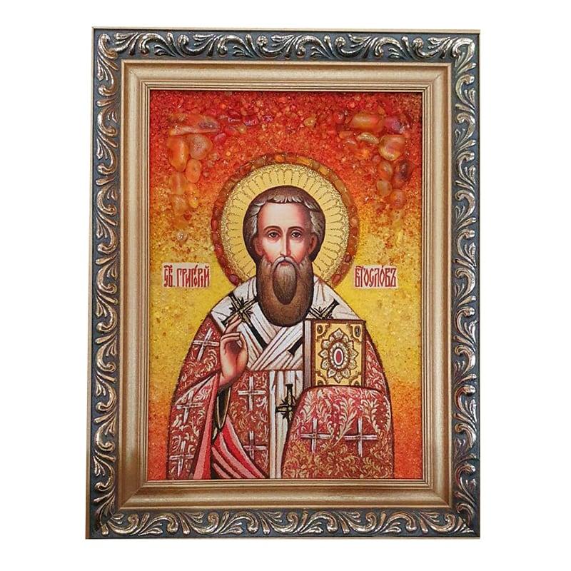 Икона из янтаря Святой Григорий Богослов