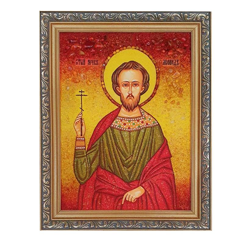 Икона из янтаря Святой Леонид Коринфский