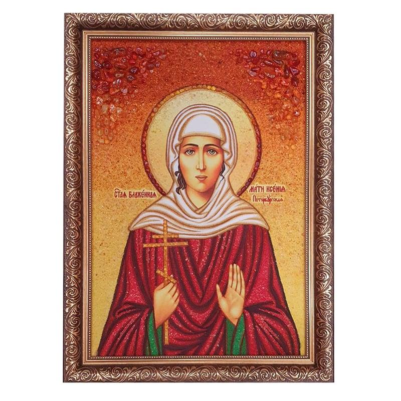Икона из янтаря Блаженная Ксения Петербургская