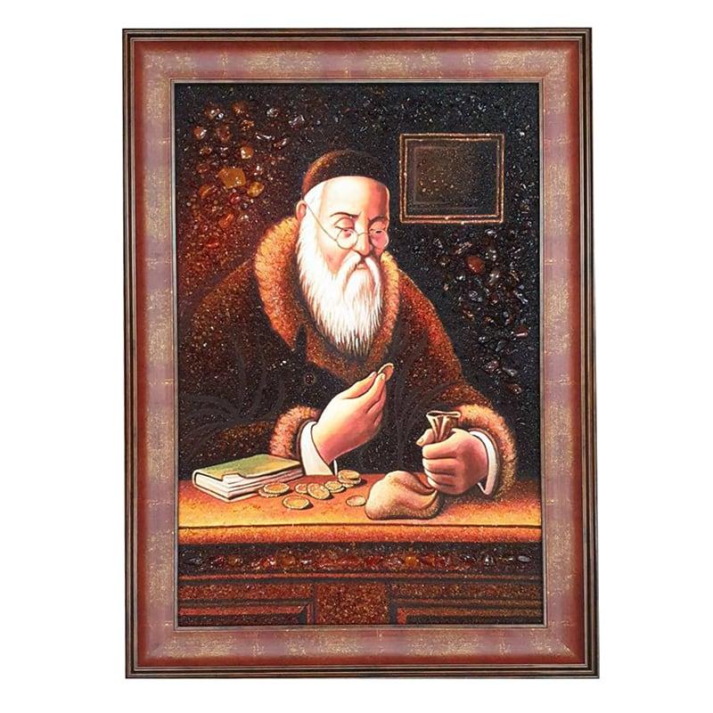 Картина янтарь Еврей Считает Монеты