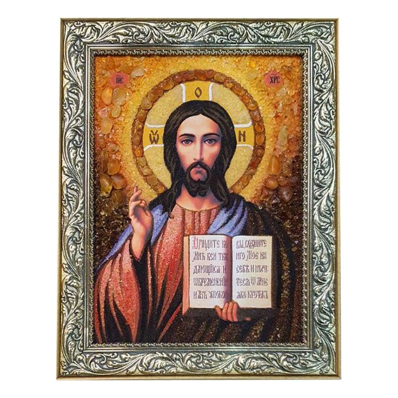 Икона из янтаря Иисус Христос Спаситель Мира