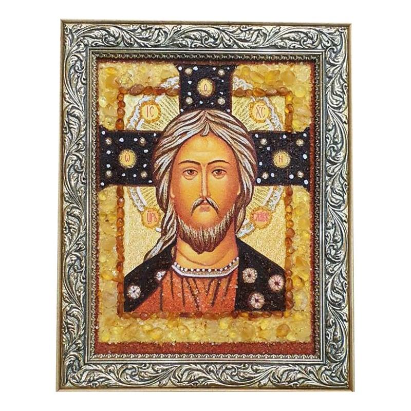 Ікона з бурштину Ісус Христос Цар слави