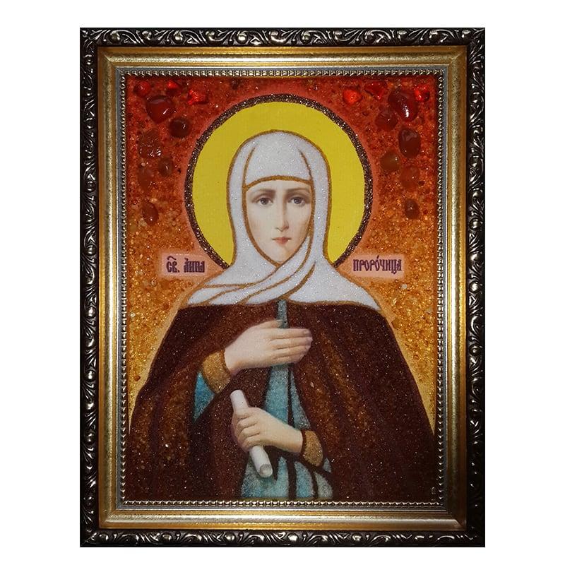 Іменна ікона з бурштину Свята Анна пророчиця
