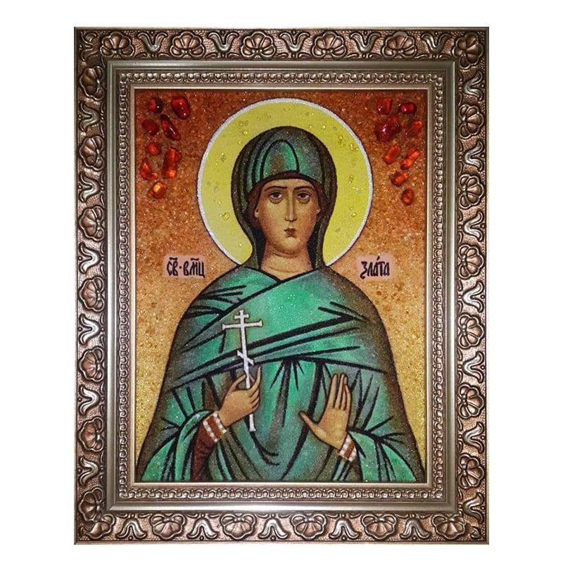 Икона из янтаря Святая Злата (Христа) Могленская