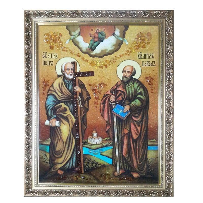 Ікона Бурштин святі апостоли Петро і Павло
