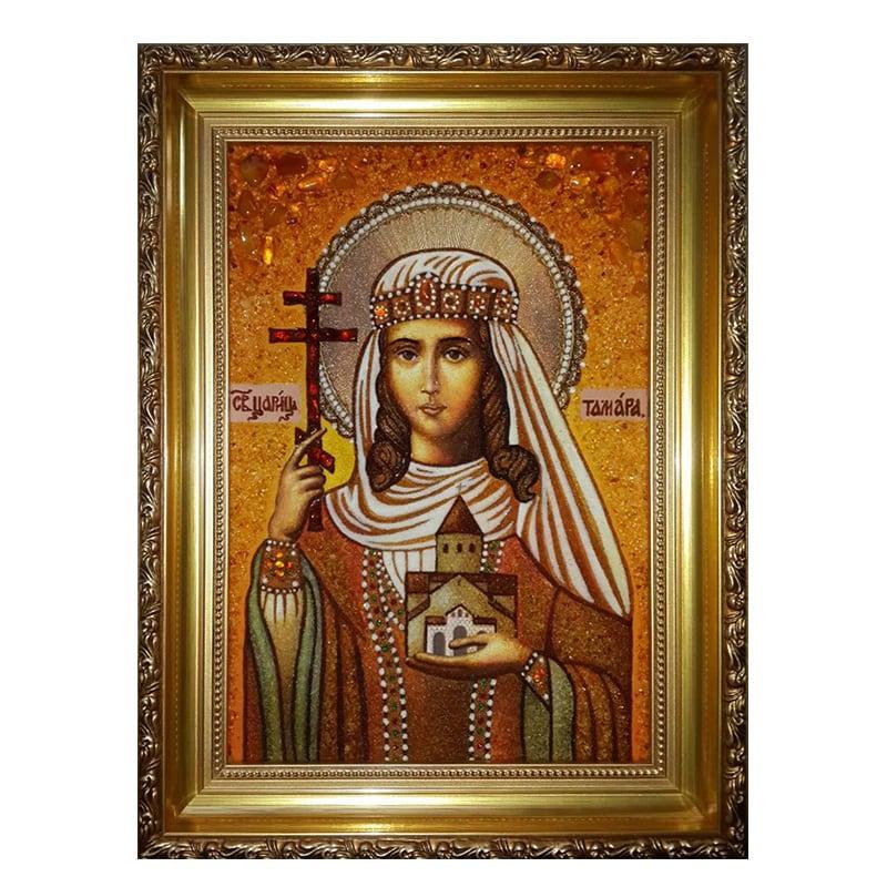Ікона з бурштину свята цариця Грузії Тамара