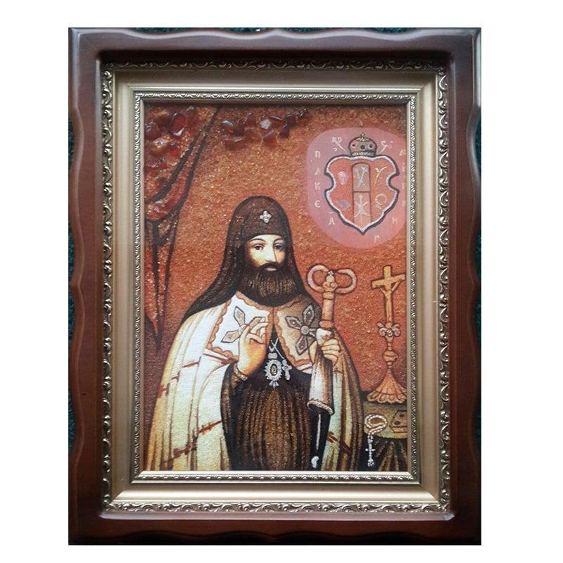 Ікона з бурштину Святитель Петро Могила Митрополит Київський