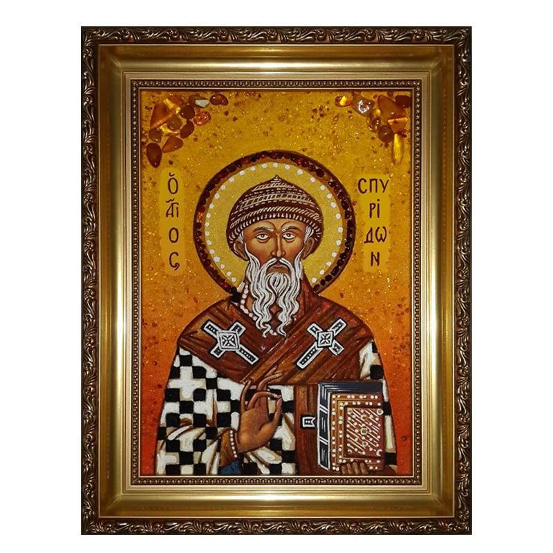 Ікона з бурштину Святий Спиридон Триміфунтський