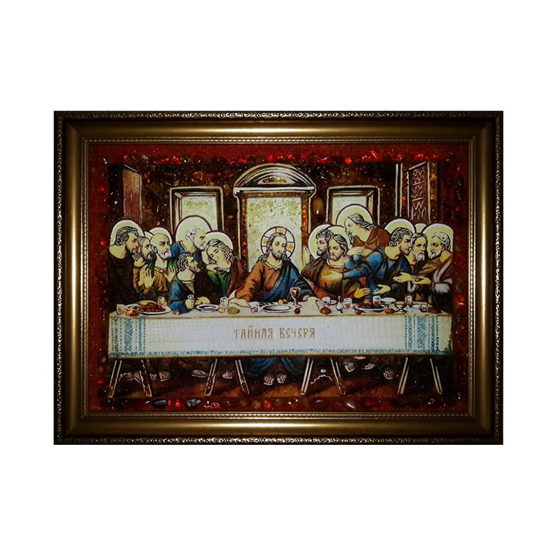 Икона янтарь Тайная вечеря