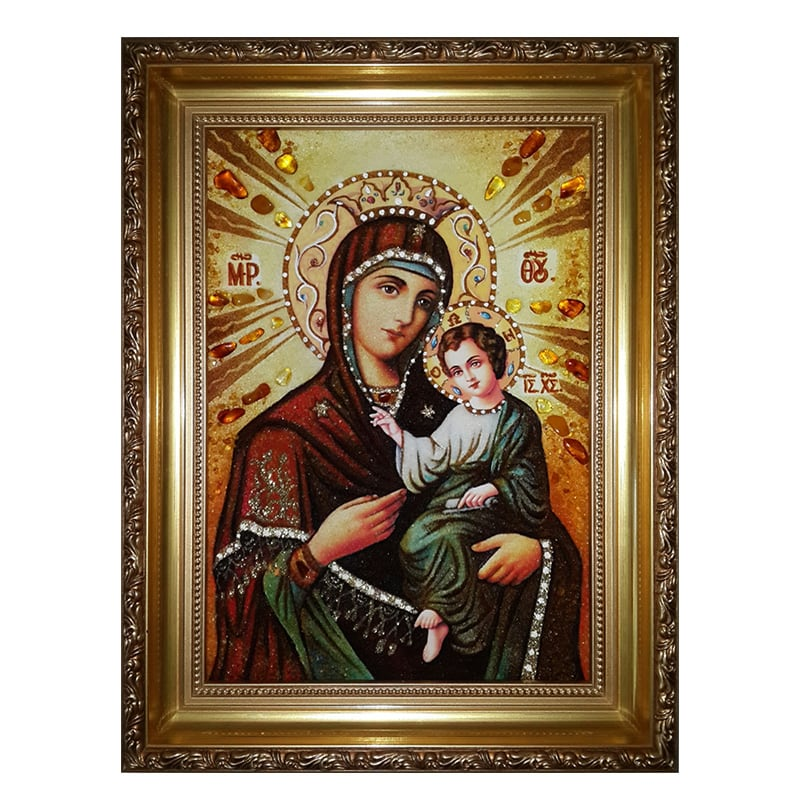 Ікона з бурштину Смоленської Божої Матері