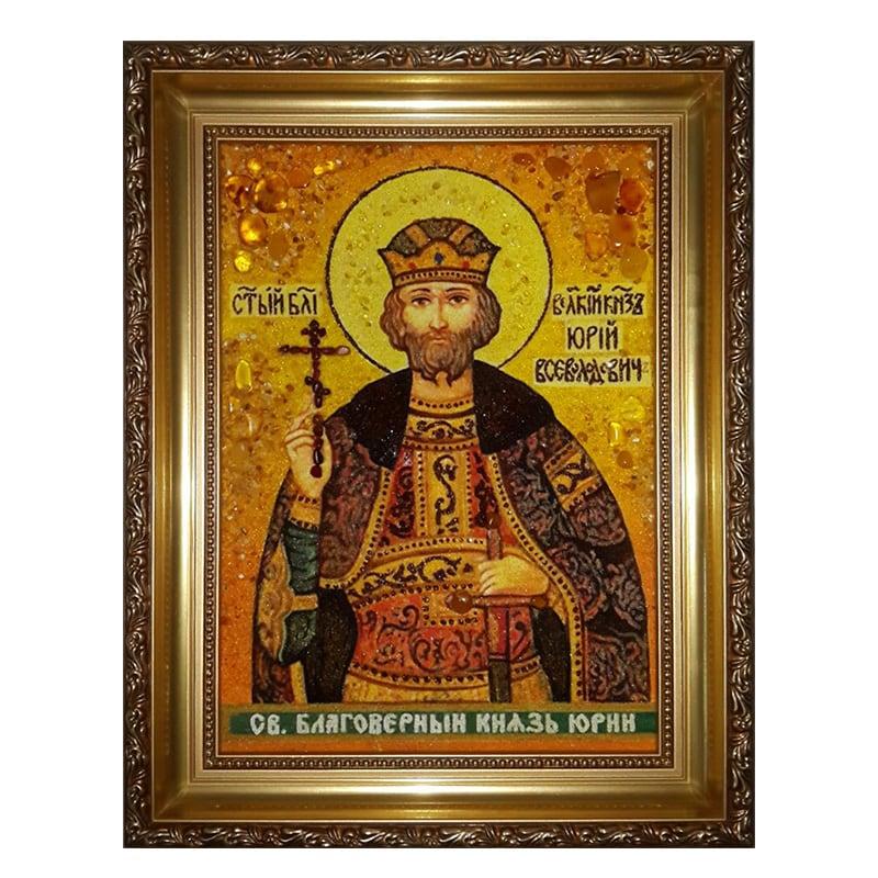 Икона из янтаря Святой князь Владимирский Юрий Всеволодович