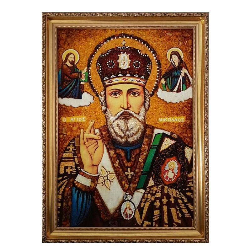 Икона янтарь Святой Николай Чудотворец