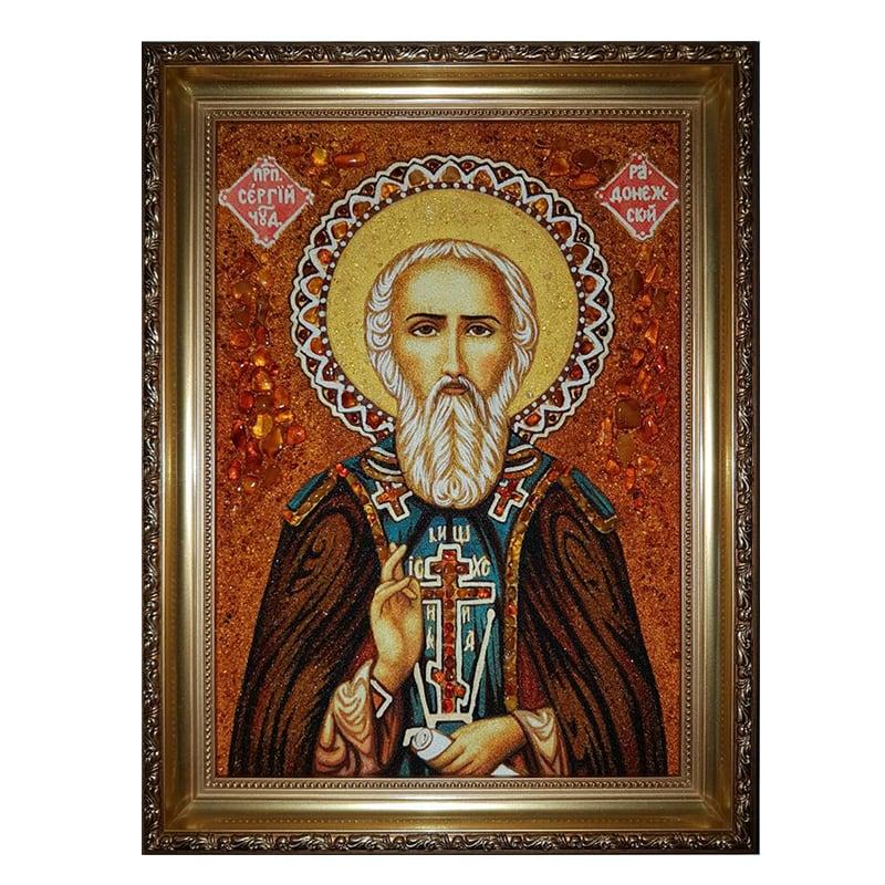 Икона из янтаря Святой Сергей Радонежский