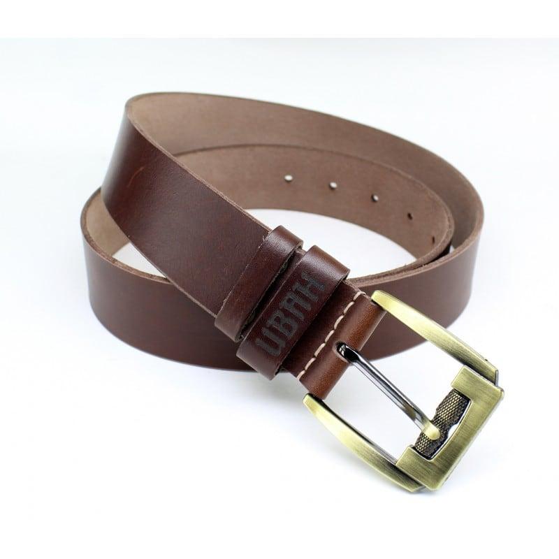 Ремень мужской кожаный Belt Personal Вrass brown leather