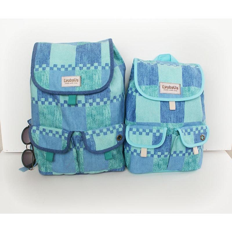 Женский рюкзак handmade Lyubava Игра синего (мини)