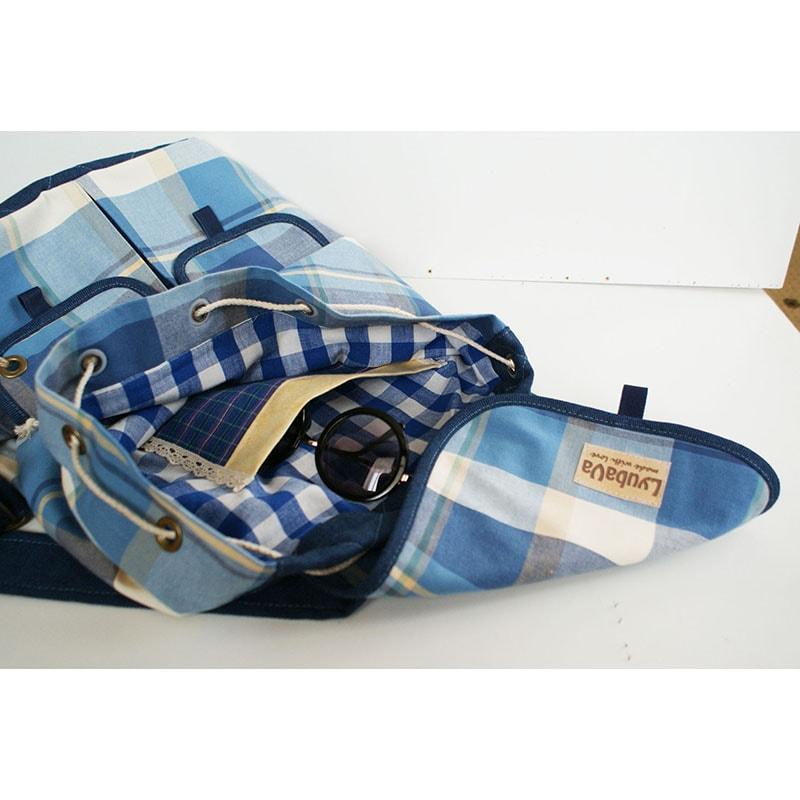 Рюкзак handmade в подарунок Lyubava Сині Клітини