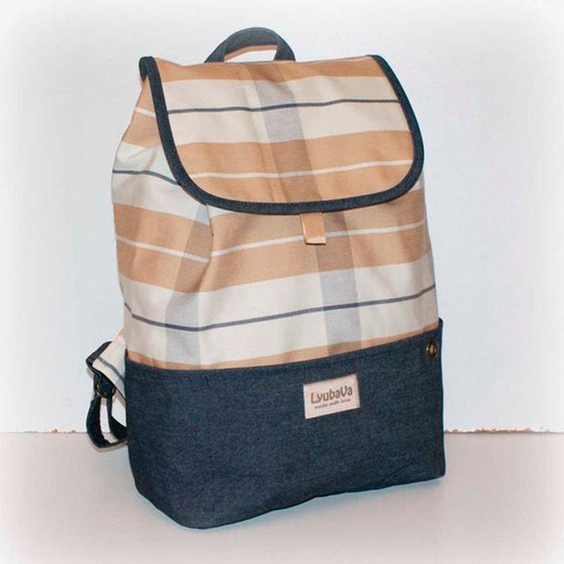Женский рюкзак в подарок Lyubava Беж и Джинс