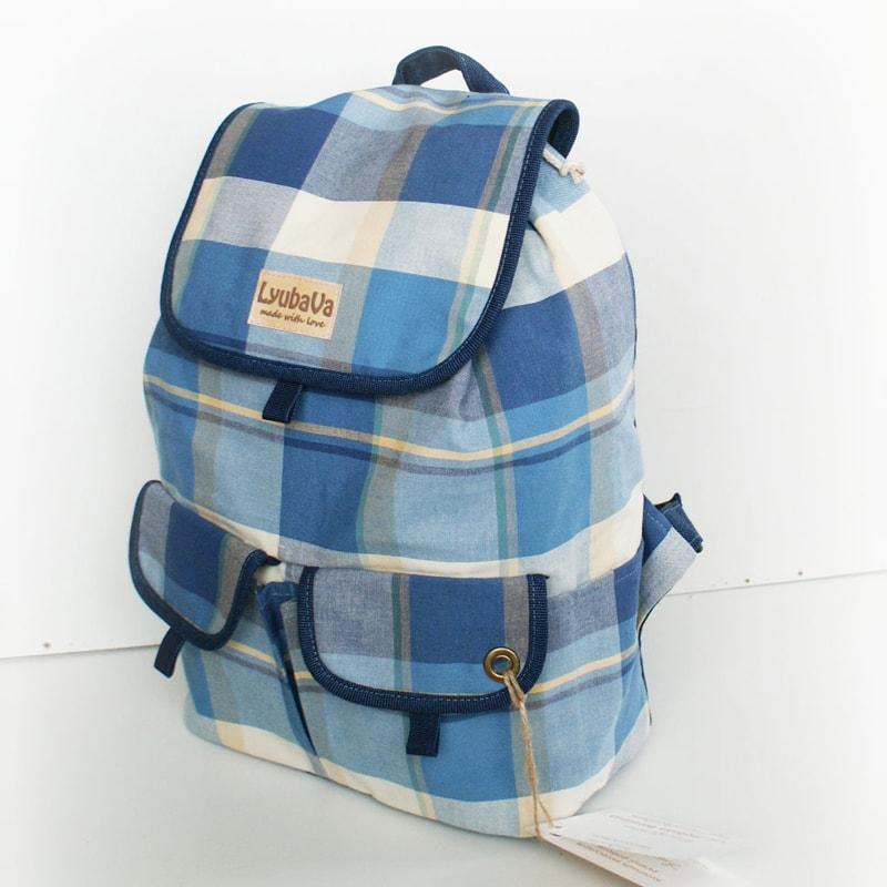 Рюкзак handmade в подарок Lyubava Синие Клетки