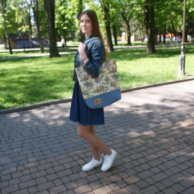 Сумка женская handmade Lyubava Цветы Деним