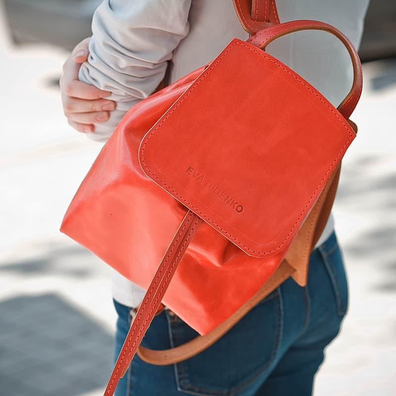 Женский рюкзак Handmade Coral leather