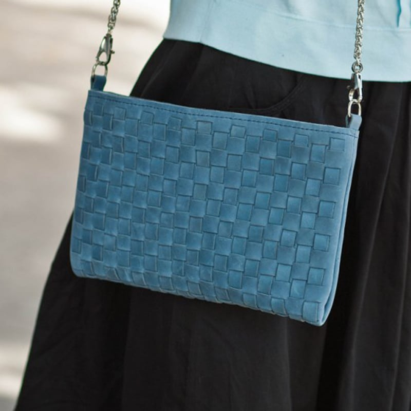 Сумка женская дизайнерская ленточного плетения Sky Blue leather
