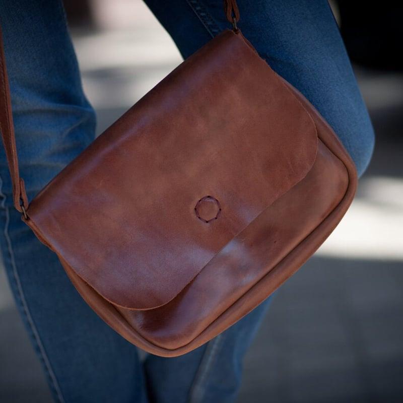 Авторская сумка женская в подарок Brown Leather