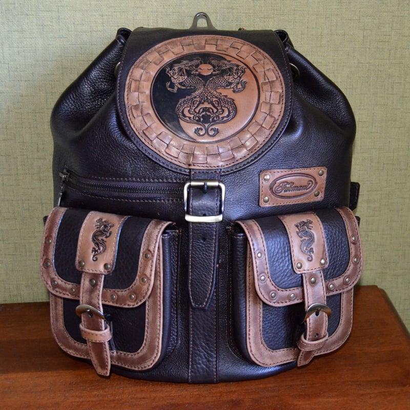 Кожаный рюкзак Handmade DRAGONS YIN YANG