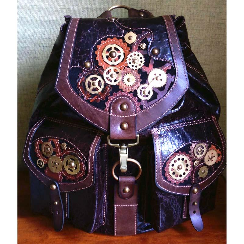 Рюкзак унісекс шкіряний у подарунок STEAMPUNK