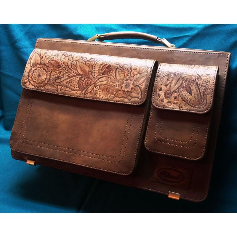 Женский портфель Handmade в подарок Менди brown leather