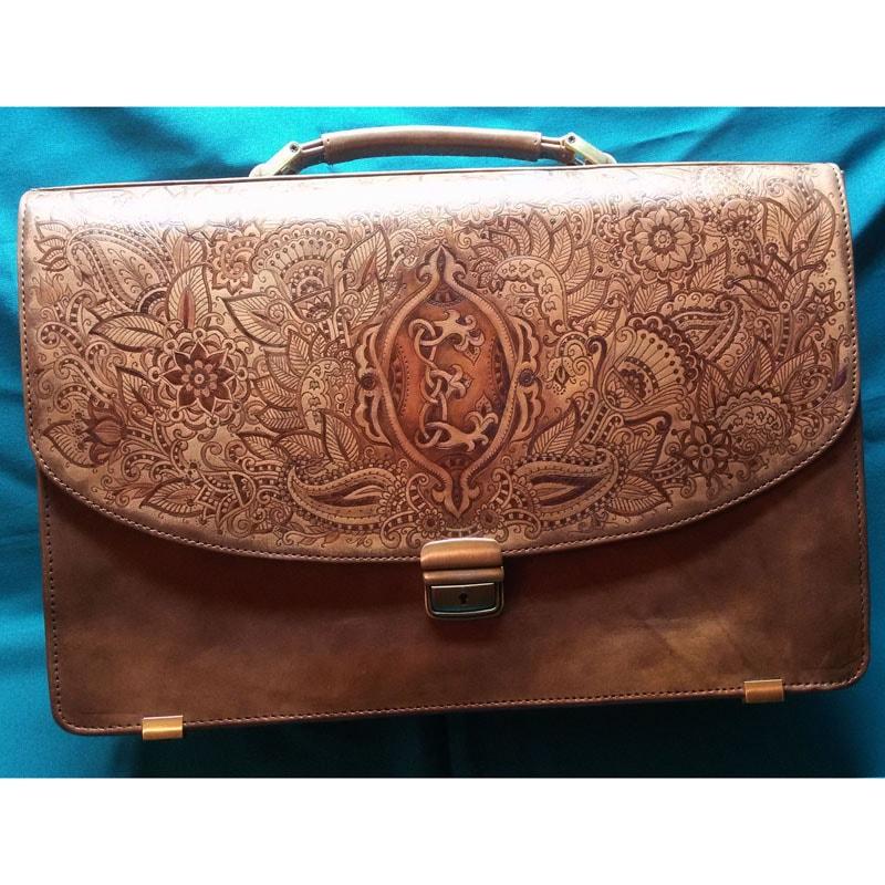 Жіночий портфель Handmade в подарунок Менді brown leather