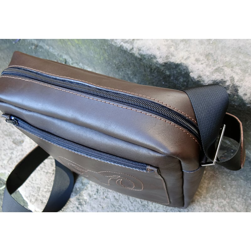 Сумка дизайнерская мужская в подарок Handmade brown leather