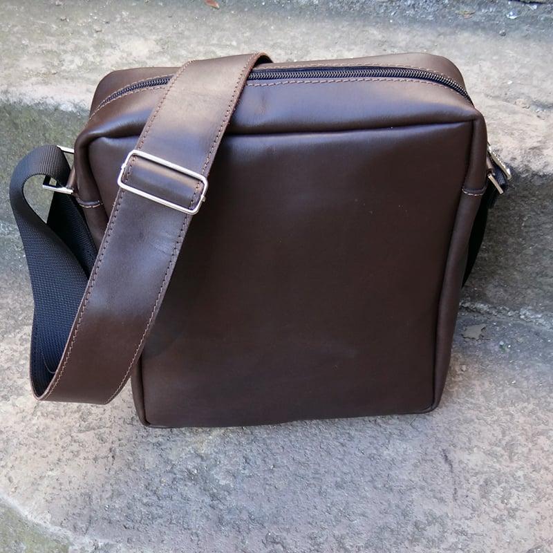 дизайнерська Сумка чоловіча в подарунок Handmade brown leather