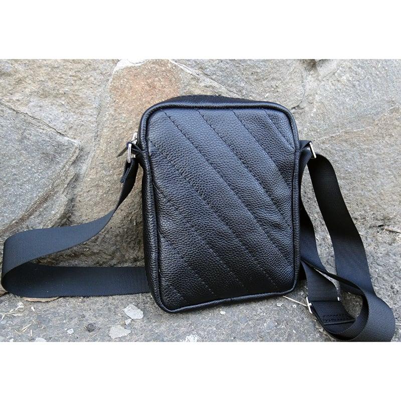Сумка дизайнерская мужская в подарок Handmade black leather