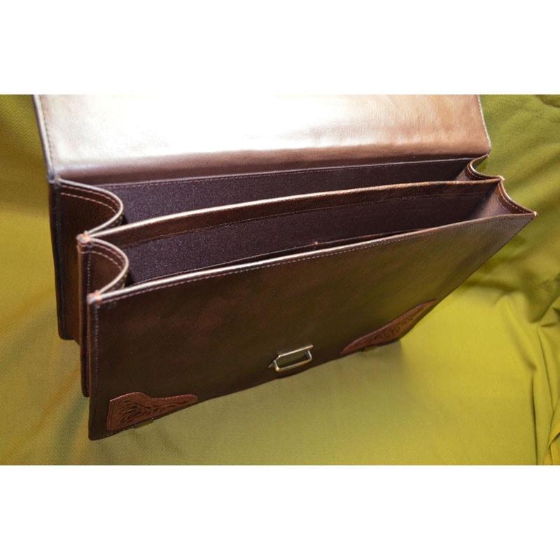 Кожаный портфель в подарок Именной brown leather