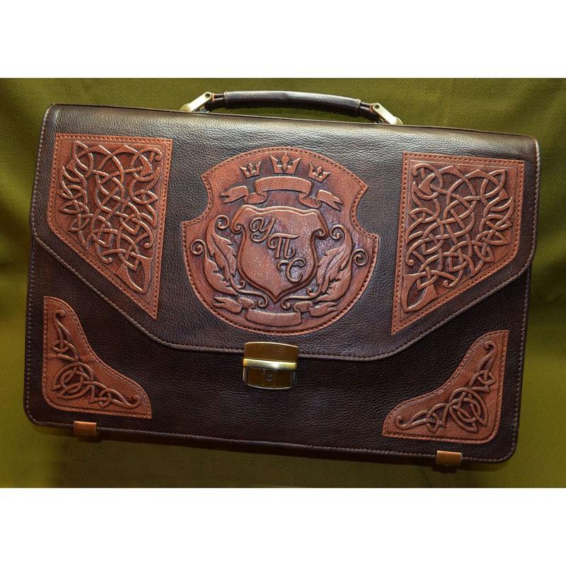 Шкіряний портфель у подарунок Іменний brown leather