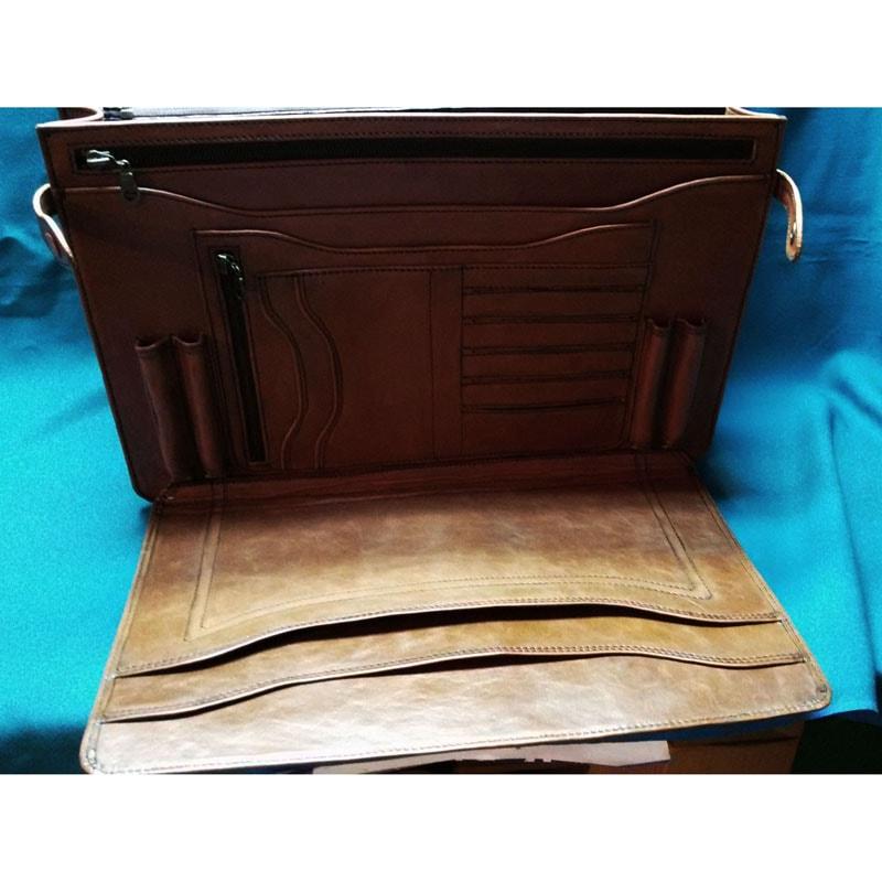 Кожаный портфель в подарок Монограмма brown leather