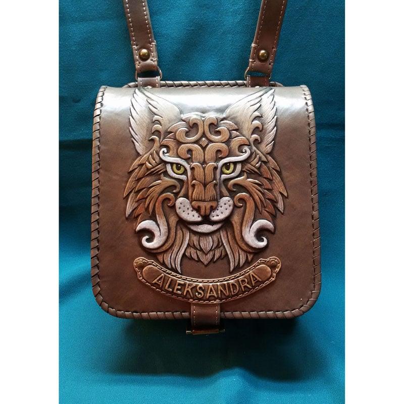 Авторская кожаная сумка в подарок Рысь