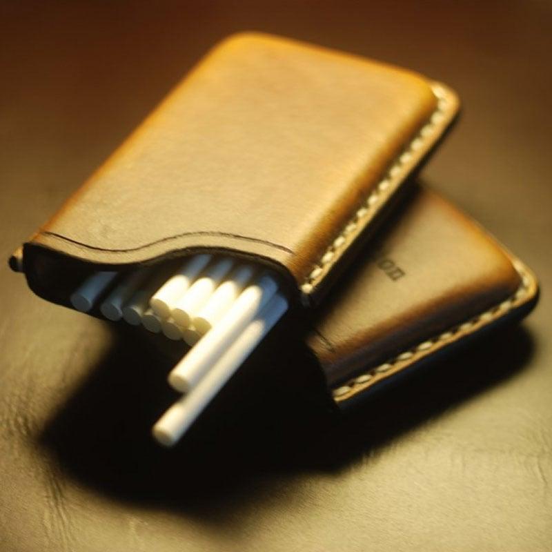 Кожаный дизайнерский портсигар в подарок Slim Red Leather