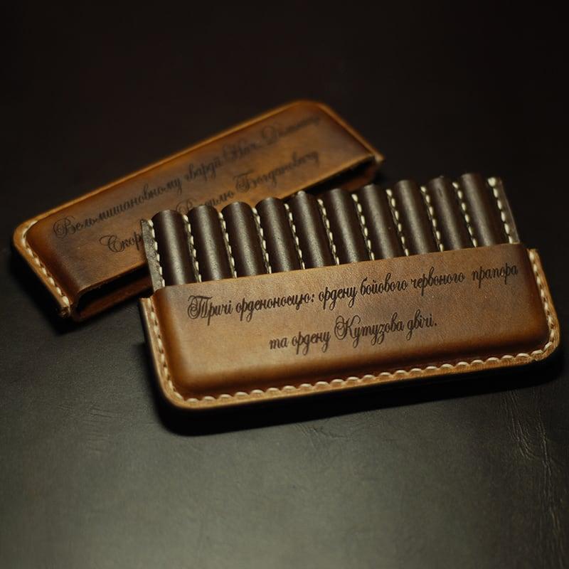 Дизайнерский портсигар Именной brown leather