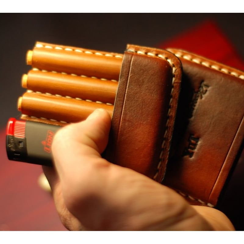 Портсигар кожаный Trinity brown leather