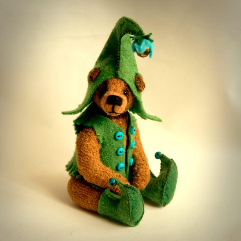 Ведмедик Тедді handmade в подарунок Зелений Ельф