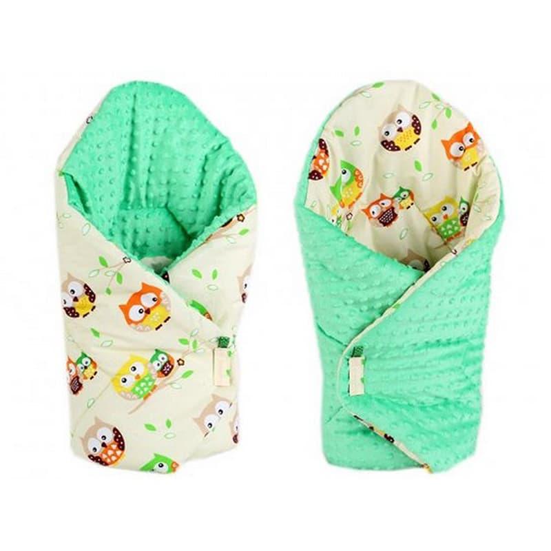Конверт одеяло двубортный на выписку Сова зеленый