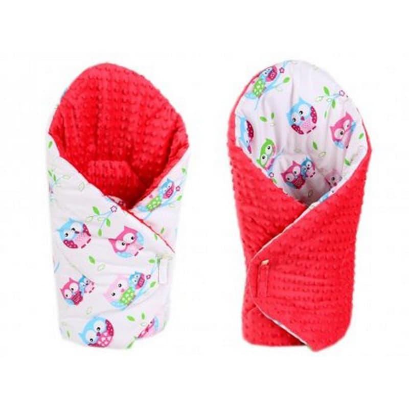 Конверт одеяло двубортное для девочки Сова красный