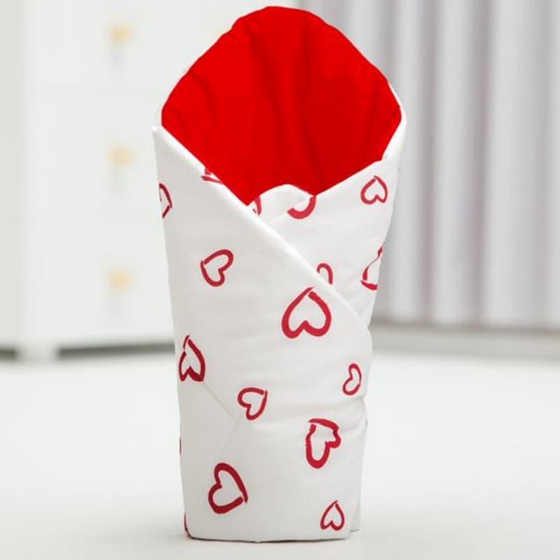 Конверт одеяло на выписку handmade Сердечко белый и красный