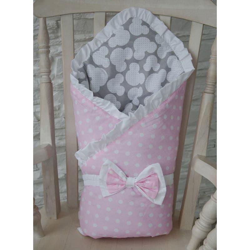 Конверт одеяло для новорожденной девочки Горошек